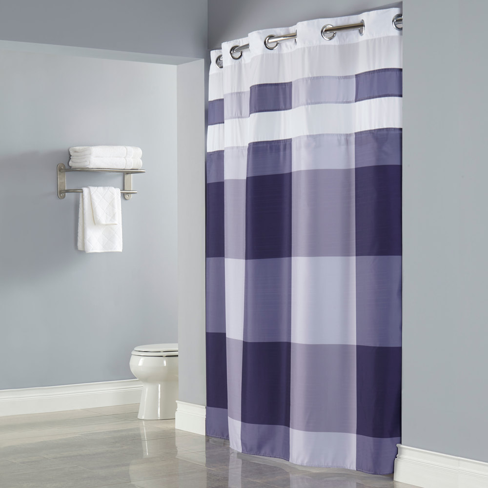 Purple shower curtain liner - Hookless Hbh49dwn68sl77 Purple Print Devan Shower Curtain With Chrome Raised Flex On Rings It S A Snap Polyester Liner With Magnets And Sheer Voile