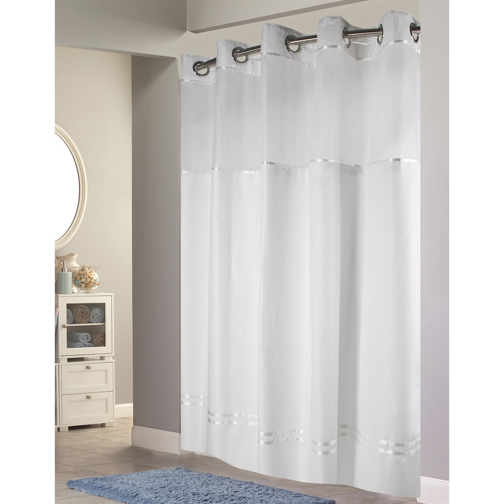Hookless HBH40E257 White with White Stripe Escape Shower Curtain ...