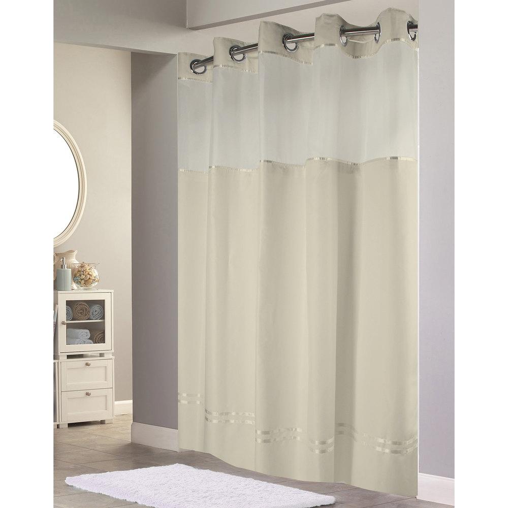 Hookless shower curtain - Hookless Hbh40e258 Beige With Beige Stripe Escape Shower Curtain With Chrome Raised Flex On Rings