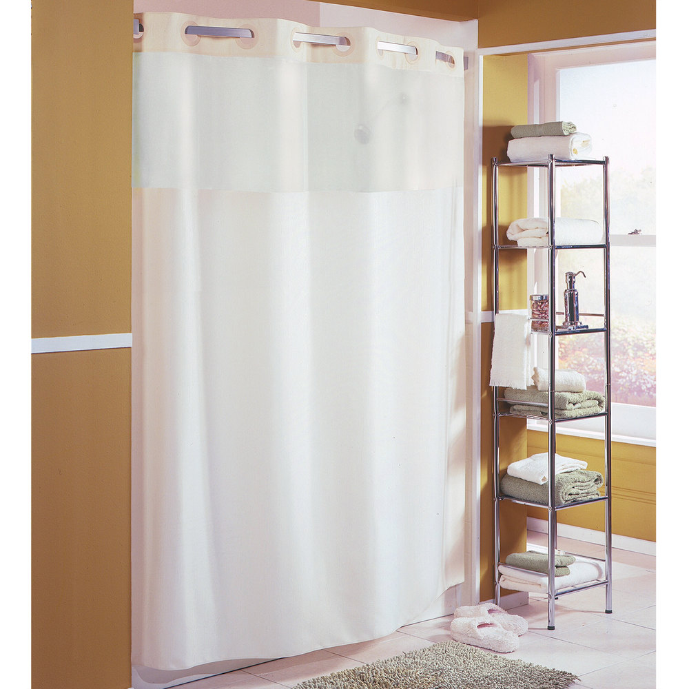 Hookless shower curtain - Hookless Hbh40mys0574 Beige Mystery Shower Curtain With Matching Flat Flex On Rings Weighted Corner Magnets