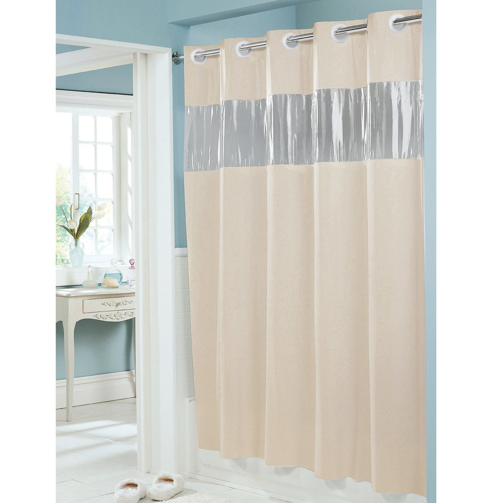 hookless hbh08vis05 beige 8 gauge vision shower curtain. Black Bedroom Furniture Sets. Home Design Ideas