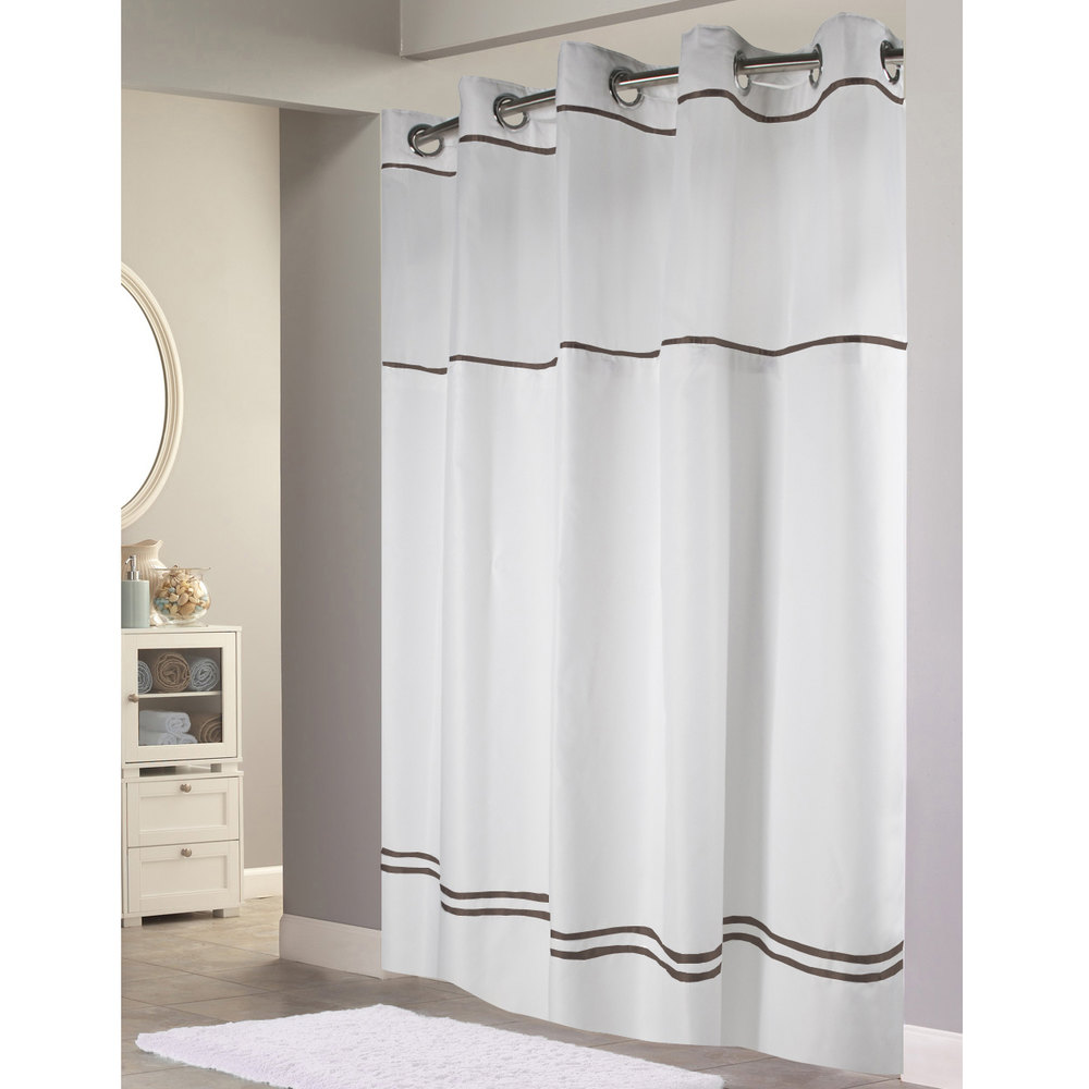 Hookless shower curtain with snap liner - Hookless Hbh40mys0129sl77 White With Brown Stripe Escape Shower Curtain With Chrome Raised Flex On Rings It S A Snap