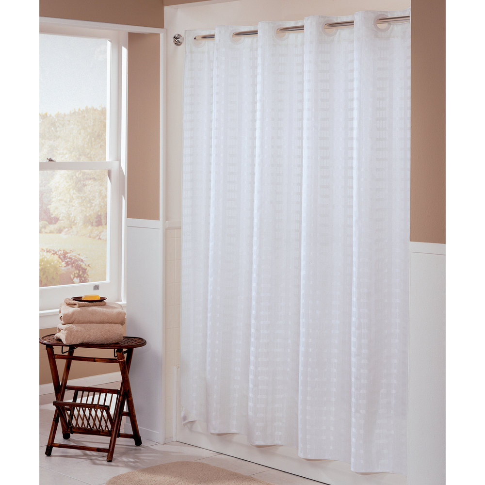 Hookless HBH43LIT01 White Litchfield Shower Curtain With
