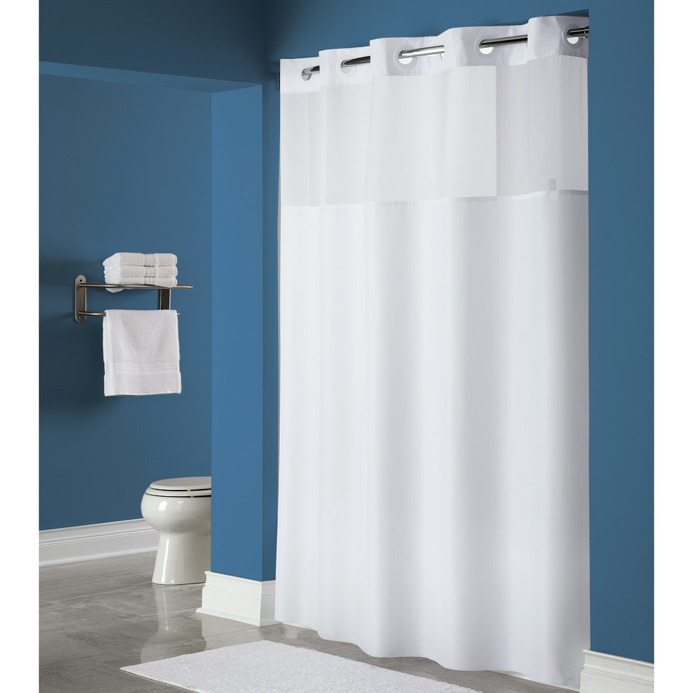 Hookless HBH40MYS0174 White Mystery Shower Curtain With Matching Flat  Flex On Rings, Weighted Corner Magnets, ...
