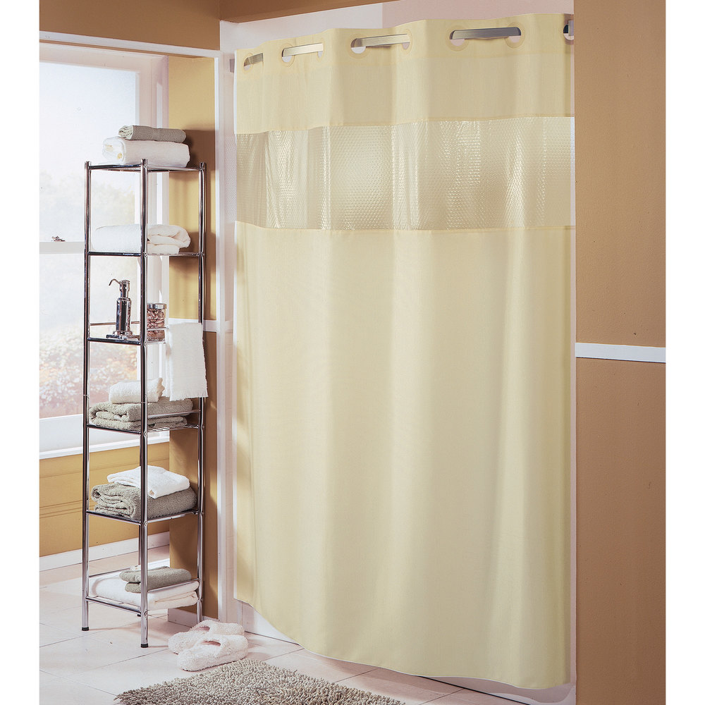 Hookless Hbh41bub05ws Beige The Major Shower Curtain With Matching Flat Flex On Rings Weighted