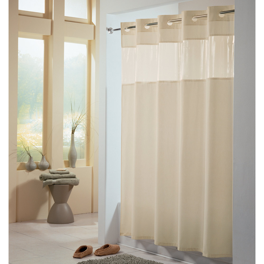 Hookless Hbh49peh05 Beige View From The Top Shower Curtain With Matching Flat Flex On Rings
