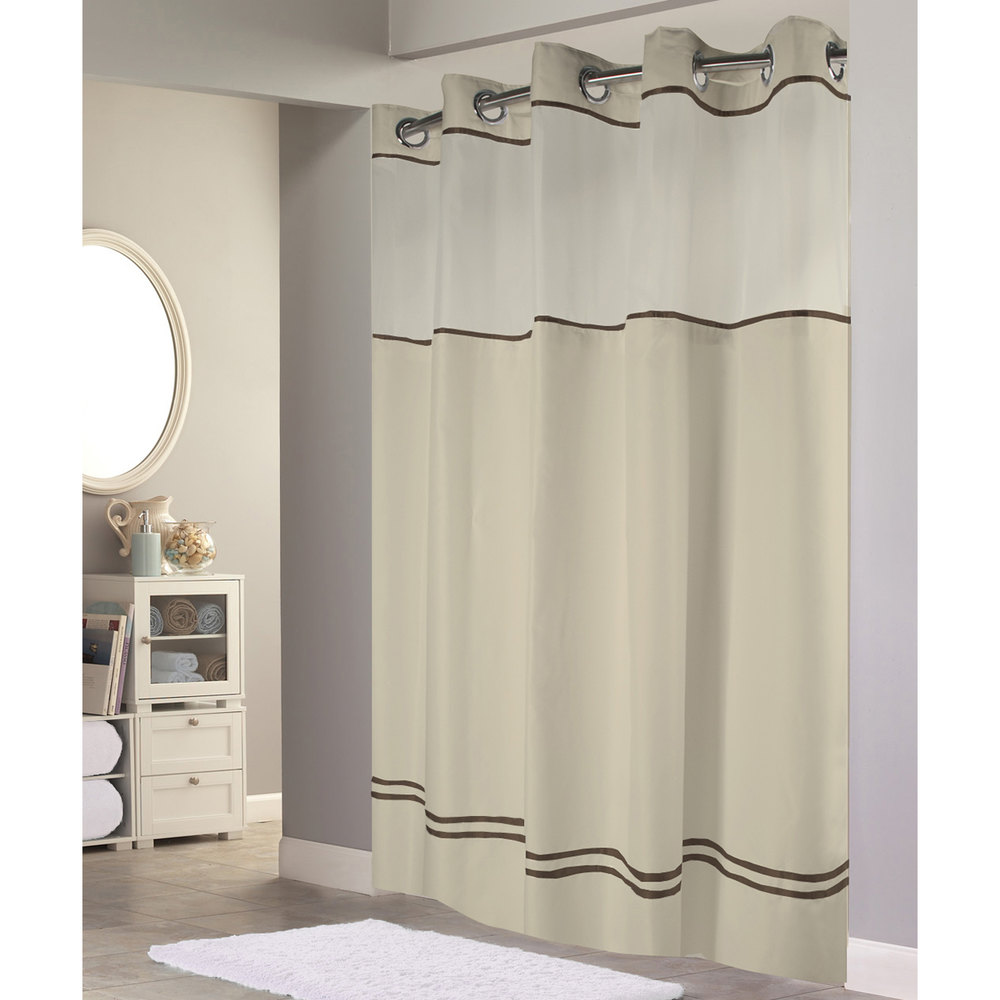 Hookless shower curtain - Hookless Hbh40es221 Sand With Brown Stripe Escape Shower Curtain With Chrome Raised Flex On Rings It S A Snap Polyester Liner With Magnets And Poly Voile