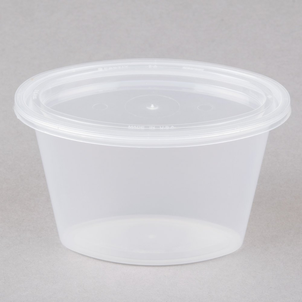 Newspring E504 ELLIPSO 4 Oz. Oval Plastic Souffle / Portion Cup With Lid  500/Case   500/Case