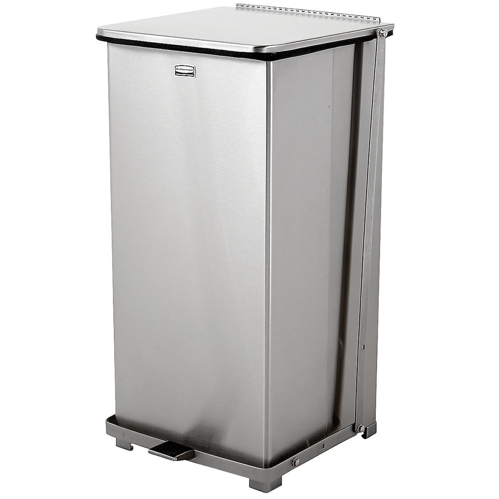 rubbermaid fgst24ssrb the defenders stainless steel square medical step can with retainer bands 24 gallon - Rubbermaid Garbage Cans