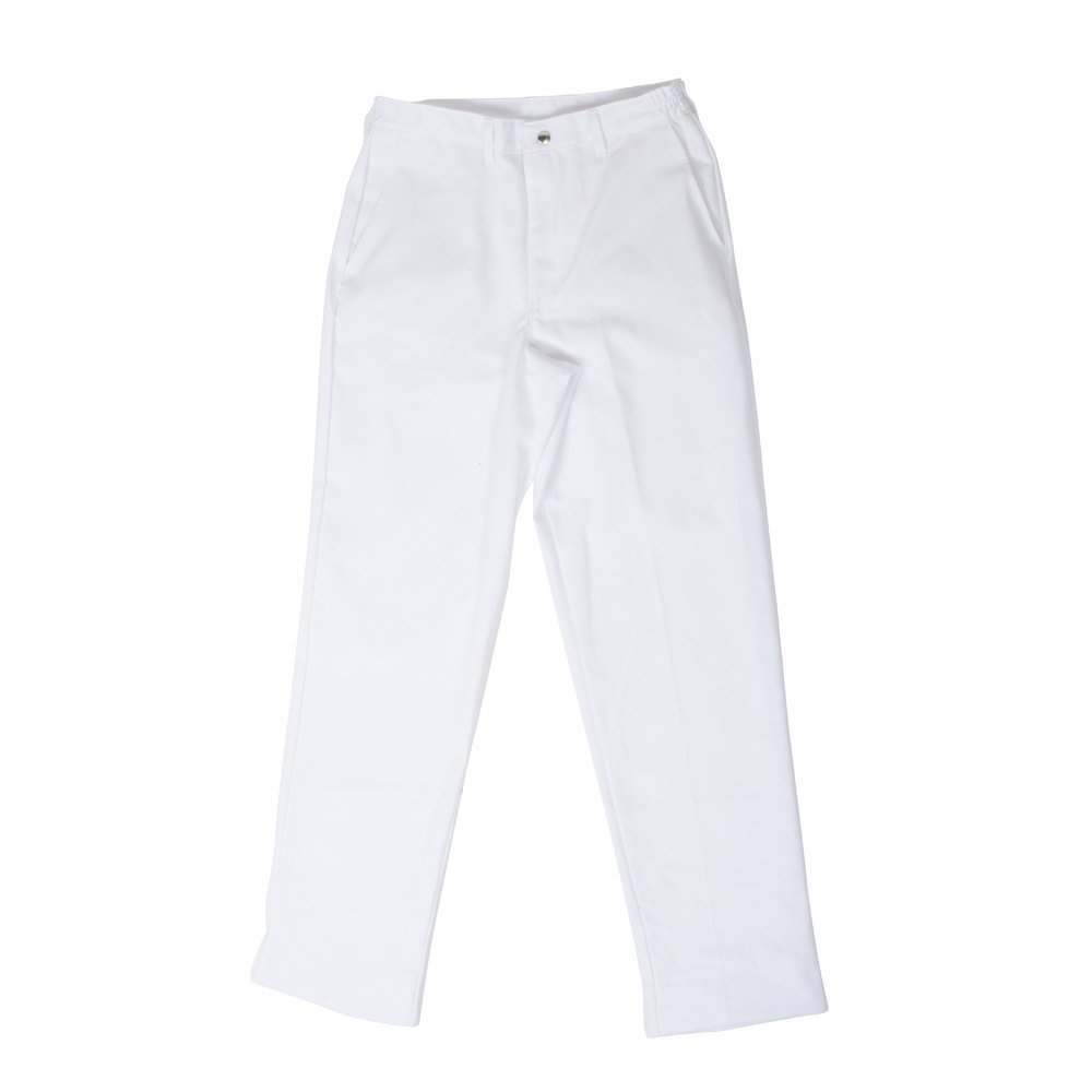 Chef Revival P201CPZ-32 Size M Classic White Cook Pants - Poly-Cotton
