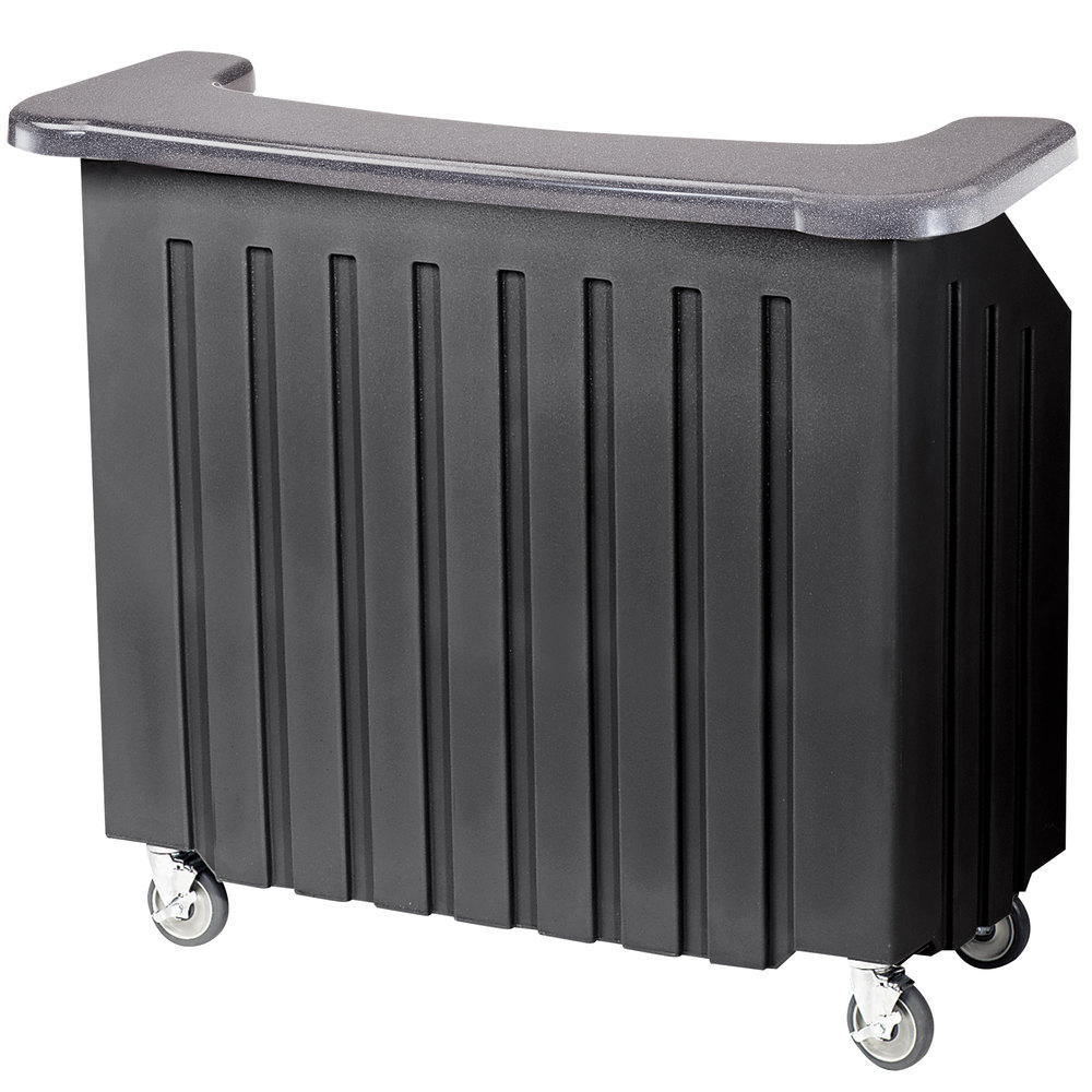 "Cambro BAR540DS670 Coal and Black Designer Series Cambar 54"" Portable Bar with 5-Bottle Speed Rail"