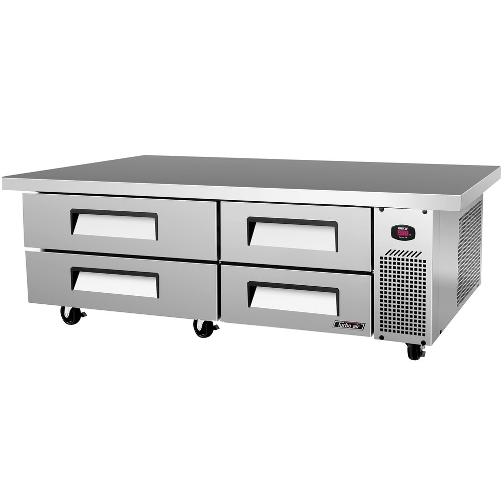 "Turbo Air TCBE-72SDR-E 72"" Four Drawer Refrigerated Chef Base with Extended Top - 15.1 cu. ft."