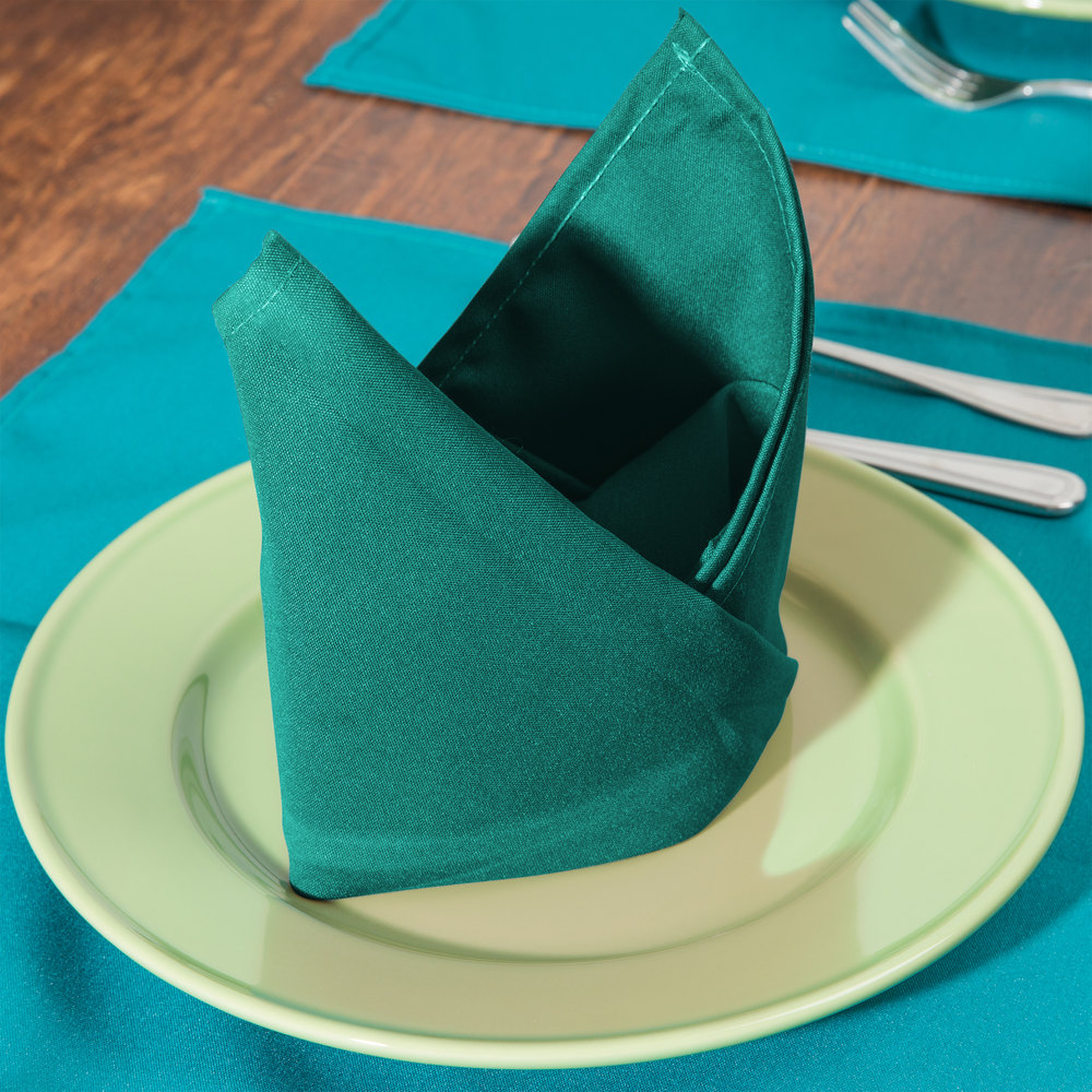 "18"" x 18"" Teal Hemmed Polyspun Cloth Napkin - 12 / Pack"