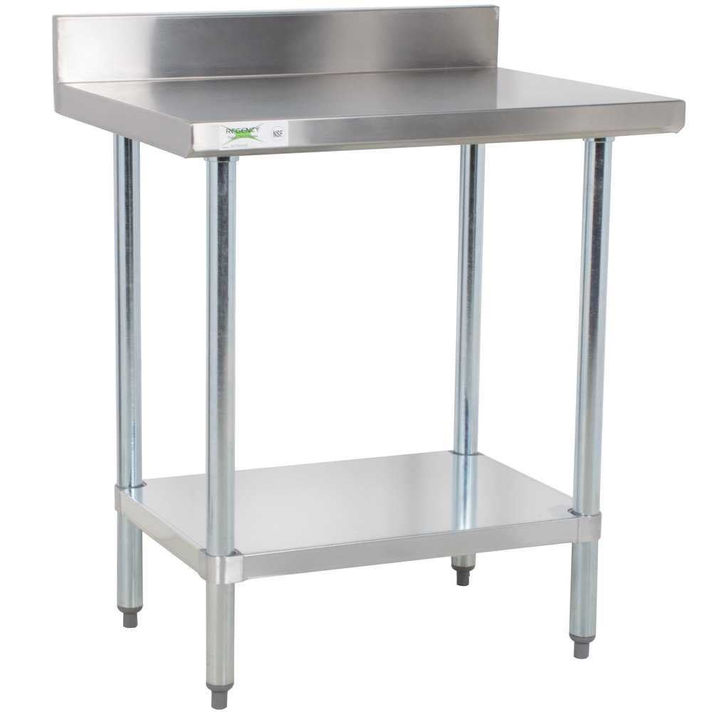 regency 24 x 30 18 gauge 304 stainless steel commercial work table with 4 backsplash and galvanized undershelf