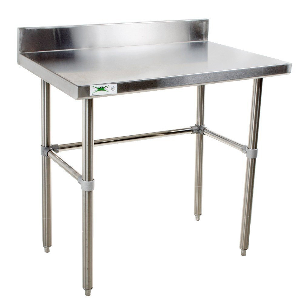 regency 30 x 36 16 gauge 304 stainless steel commercial open base work table with 4 backsplash