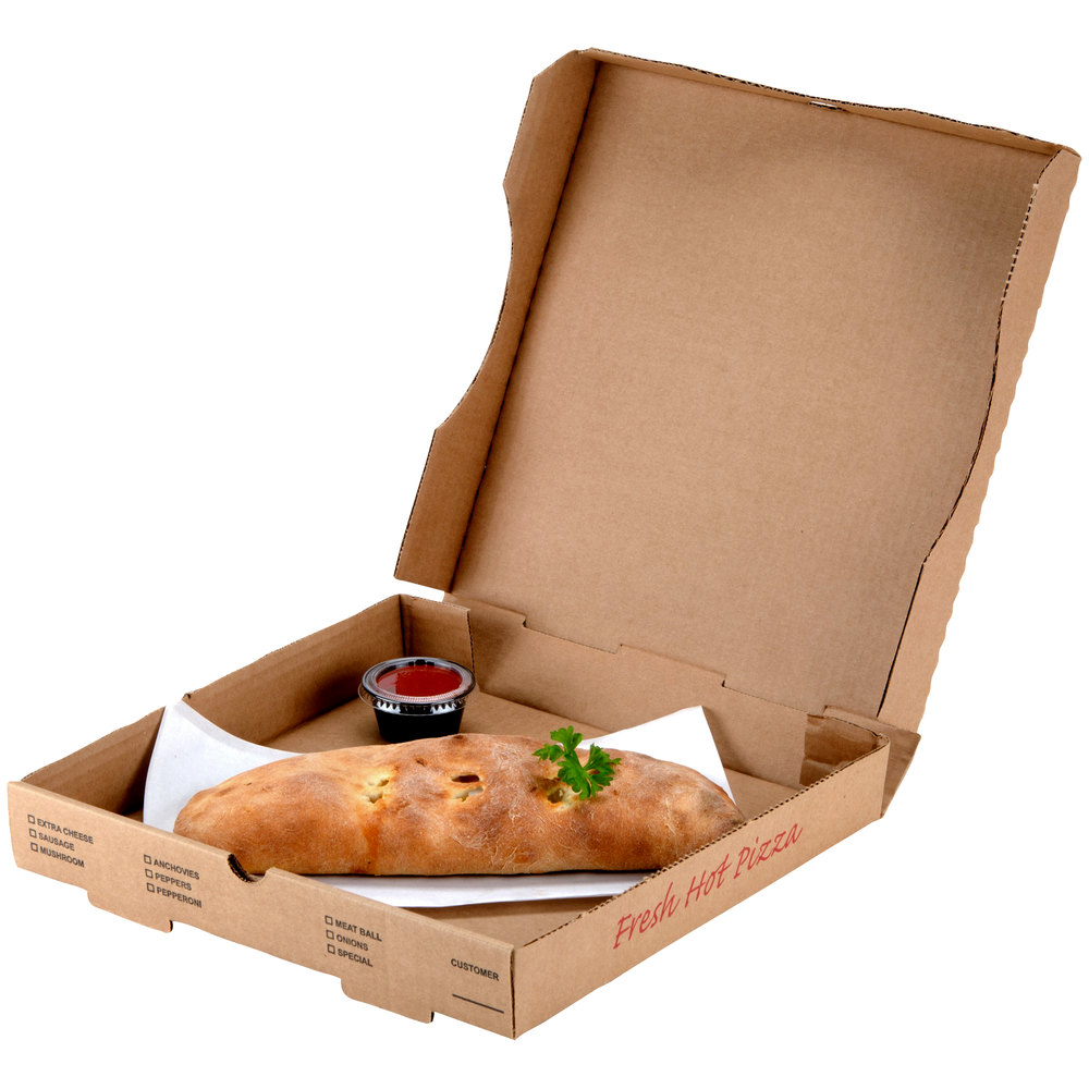 "12"" x 12"" x 1 3/4"" Kraft Corrugated Pizza Box - 50 / Case"