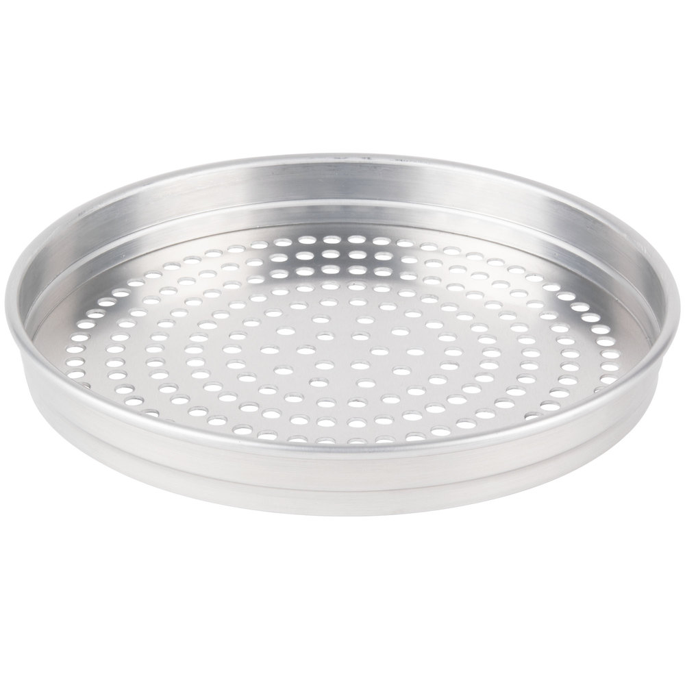 "American Metalcraft SPHA5107 5100 Series 7"" Super Perforated Heavy Weight Aluminum Straight Sided Self-Stacking Pizza Pan"