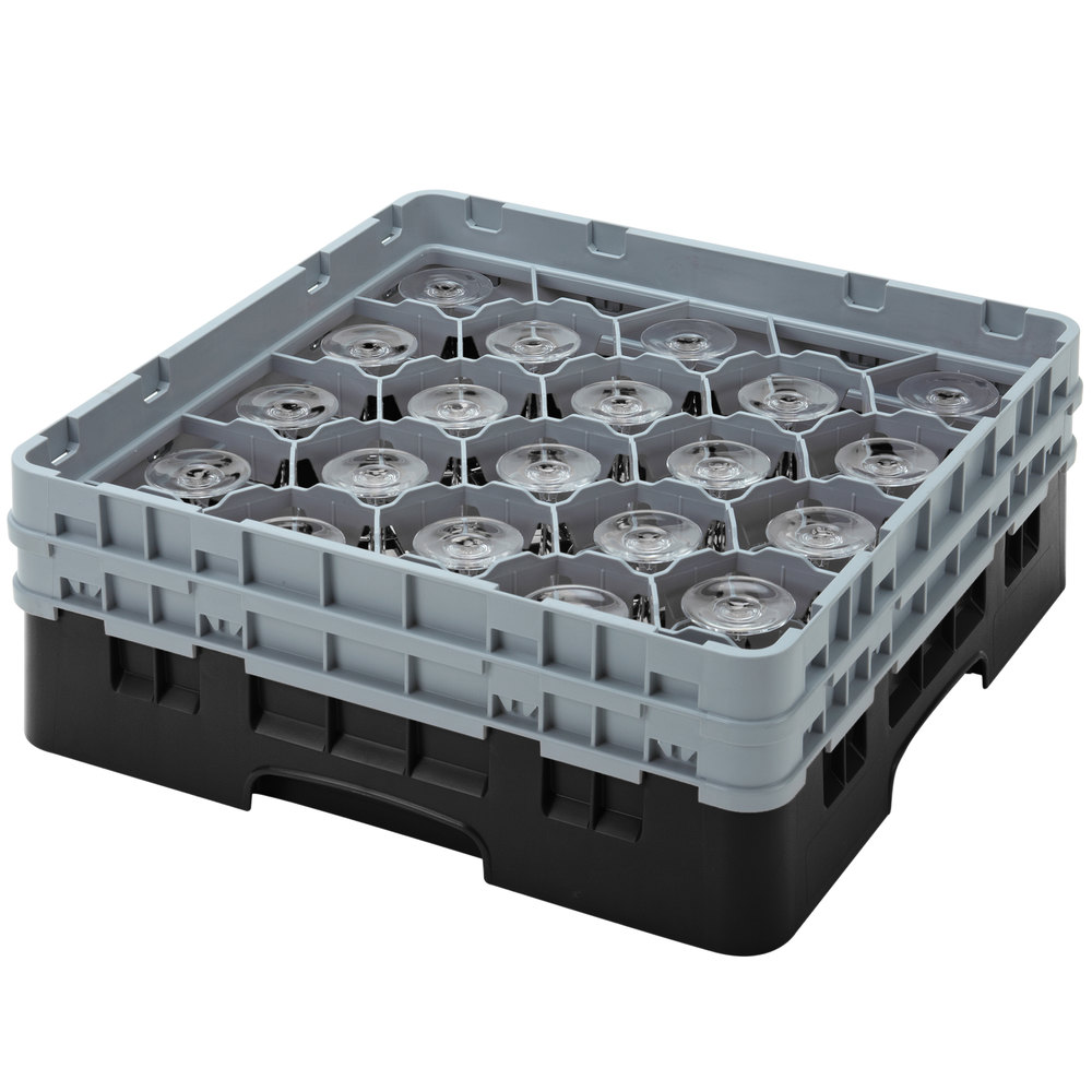 "Cambro 20S800110 Camrack 8 1/2"" High Black 20 Compartment Glass Rack"