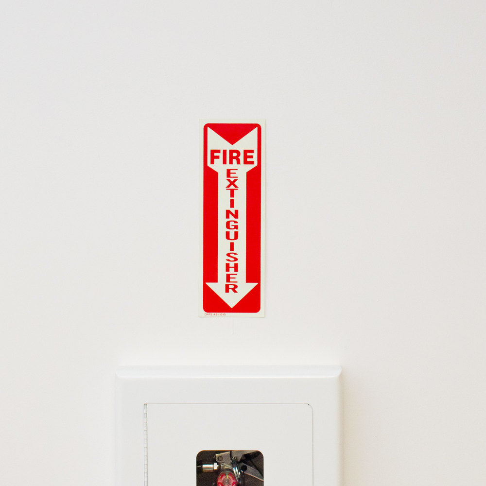 "Buckeye Glow-In-The-Dark Fire Extinguisher Adhesive Label - Red and White, 12"" x 4"""