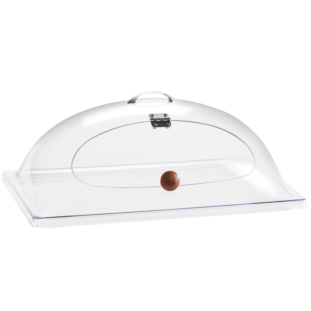 "Cal-Mil 367-12 Classic Clear Dome Display Cover with Single Middle Opening and Door - 12"" x 20"" x 7 1/2"""