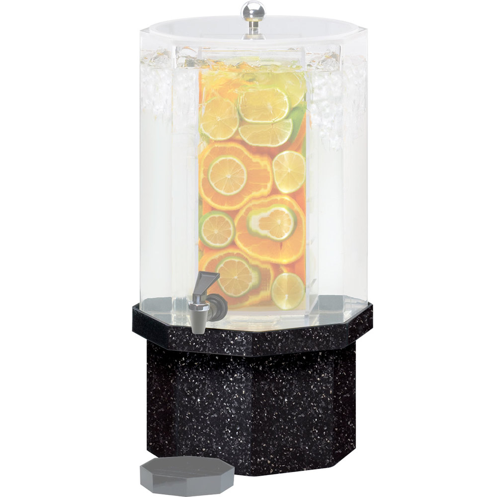 Cal-Mil C972-5B-17 Octagonal Granite Charcoal Acrylic Replacement Base for 5 Gallon Classic Beverage Dispensers