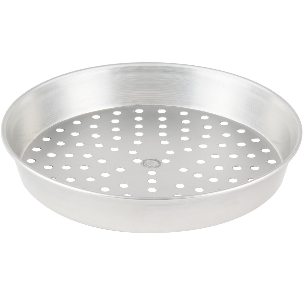 "American Metalcraft PT90102 10"" x 2"" Perforated Tin-Plated Steel Pizza Pan"
