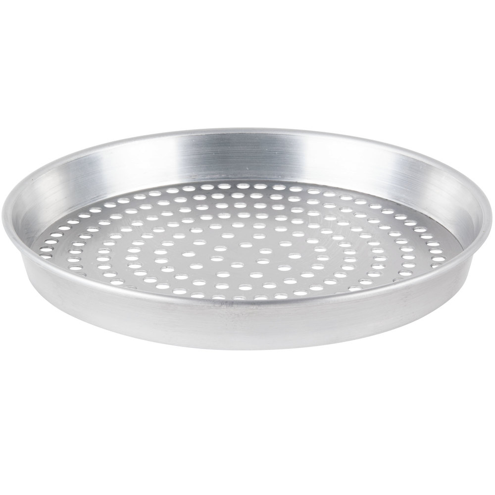 "American Metalcraft HA90101.5SP 10"" x 1 1/2"" Super Perforated Heavy Weight Aluminum Tapered / Nesting Pizza Pan"