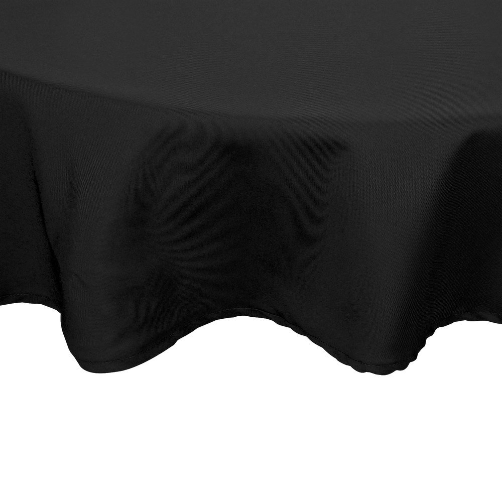 "72"" Round Black 100% Polyester Hemmed Cloth Table Cover"