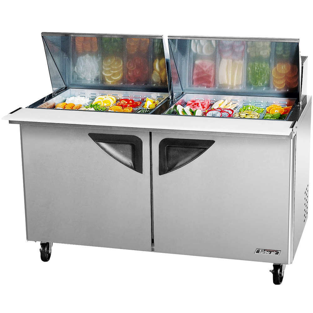"Turbo Air TST-60SD-24 60"" Super Deluxe Mega Top Two Door Refrigerated Salad / Sandwich Prep Table with Deluxe Shelving"