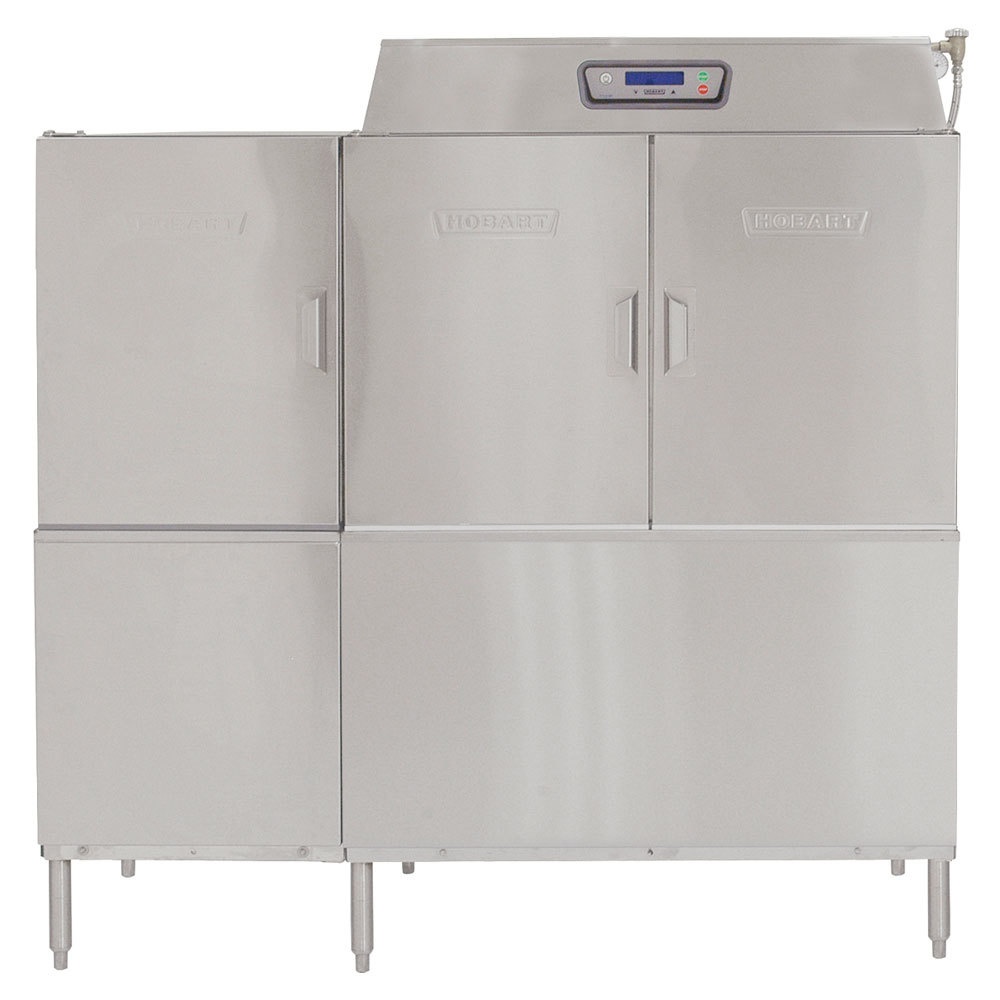 Hobart CLPS66e-7 Conveyor High / Low Temperature Dishwasher with 30 kW Booster Heater and Power Scrapper - Right to Left Operation