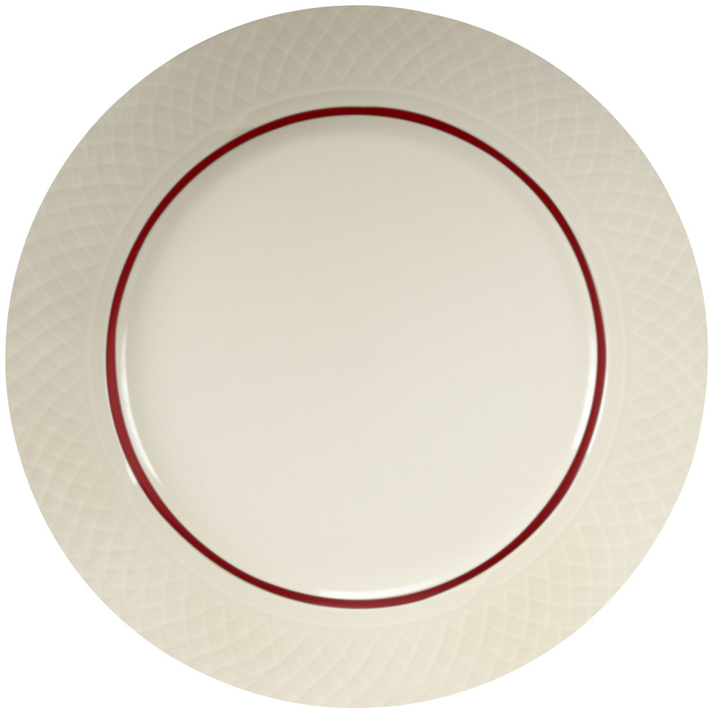 "Homer Laughlin Gothic Red Jade 10 5/8"" Off White China Plate - 12 / Case"