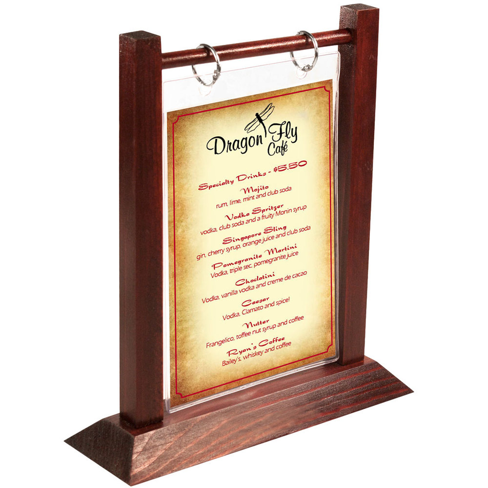 Menu solutions wft4s a 4 x 6 mahogany wood flip top for Restaurant table menu