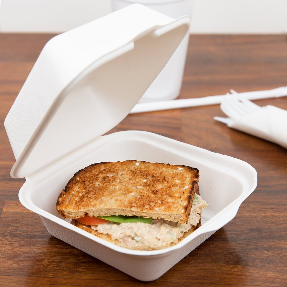 "EcoChoice Biodegradable, Compostable Sugarcane / Bagasse 6"" x 6"" x 3"" Take-Out Container - 500/Case"