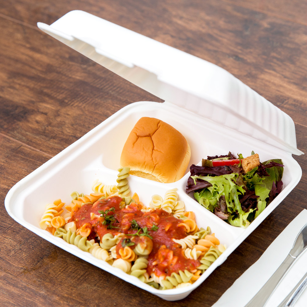 "EcoChoice 9"" x 9"" x 3"" Biodegradable, Compostable Sugarcane / Bagasse 3 Compartment Takeout Container - 200/Case"