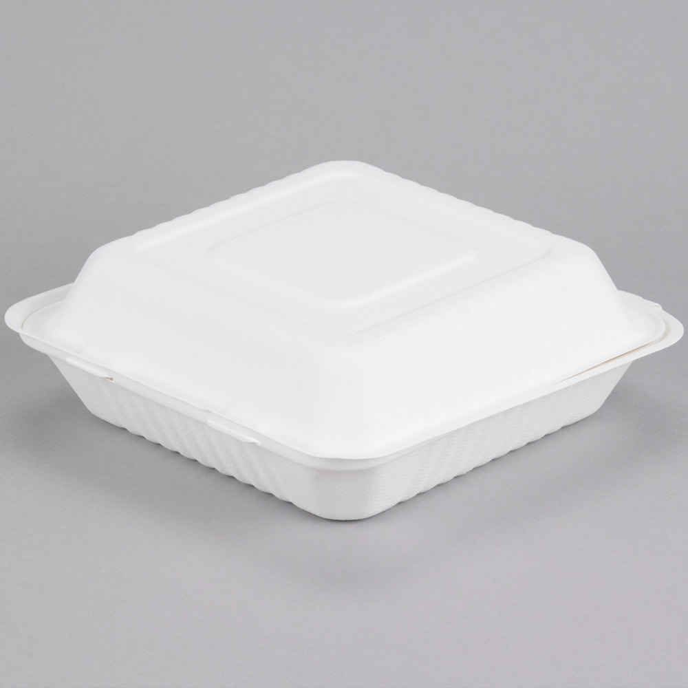 ecochoice 9 x 9 x 3 biodegradable compostable sugarcane bagasse 1 compartment takeout box. Black Bedroom Furniture Sets. Home Design Ideas