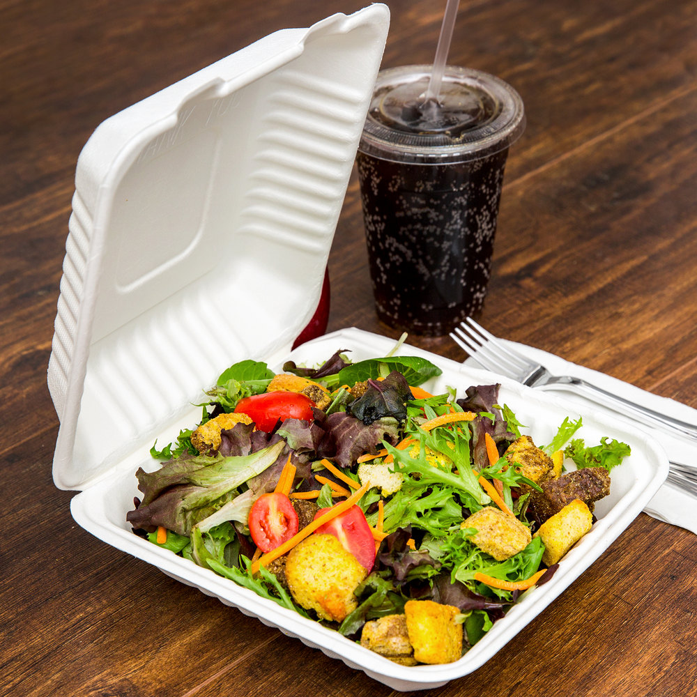 "EcoChoice 8"" x 8"" x 3"" Biodegradable, Compostable Sugarcane / Bagasse 1 Compartment Takeout Box - 50/Pack"