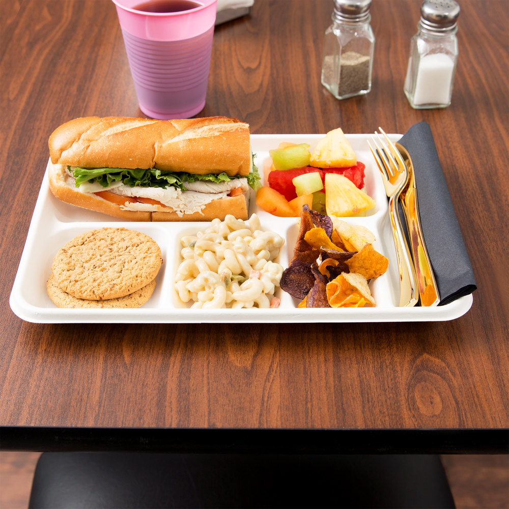 "EcoChoice 8"" x 10"" Biodegradable, Compostable Sugarcane / Bagasse 6 Compartment Tray - 100/Pack"