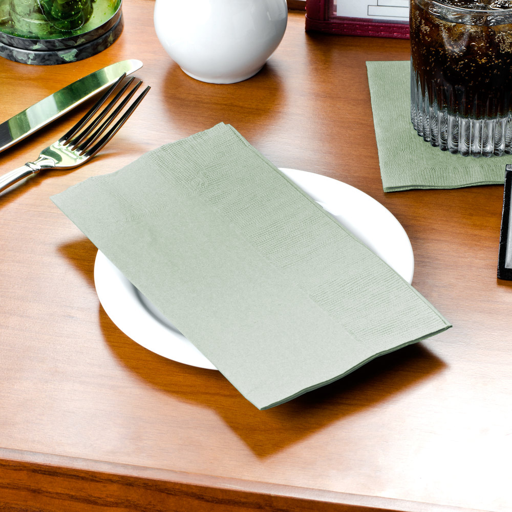 "Sage Paper Dinner Napkin, Choice 2-Ply Customizable, 15"" x 17"" - 1000/Case"