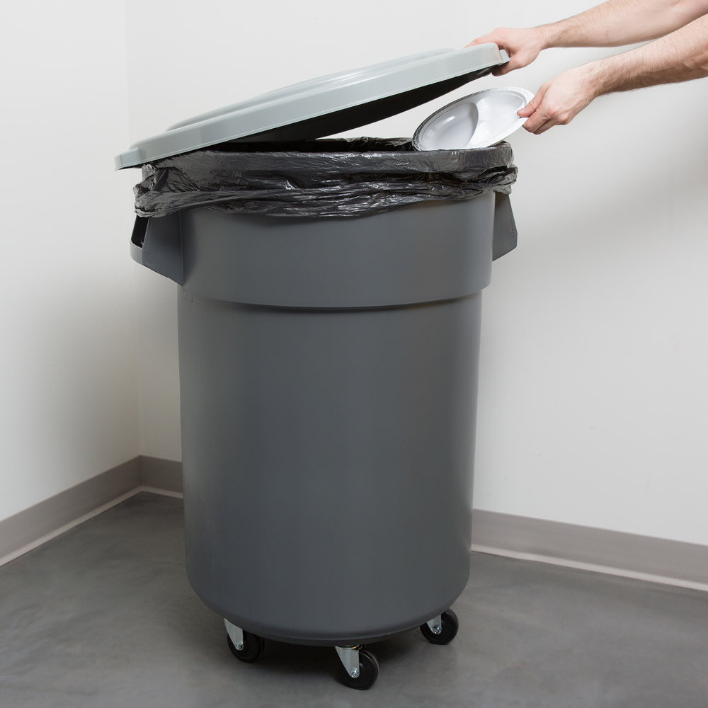 continental 44 gallon gray trash can lid and dolly kit. Black Bedroom Furniture Sets. Home Design Ideas