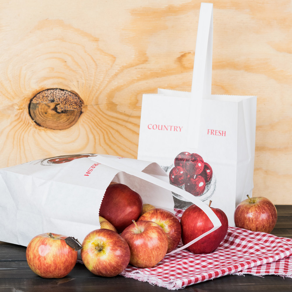 "1/2 Peck ""Country Fresh - Sophomore"" Apple White Kraft Paper Produce Market Stand Bag with Handle - 500/Case"