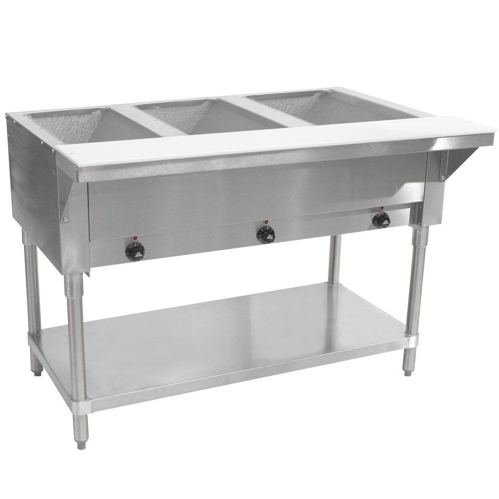 Advance Tabco Hf3e Three Pan Electric Steam Table With. Glass Desk With Drawers. Surfboard Drawer Pulls. Heat Press Help Desk. Hydraulic Scissor Lift Table