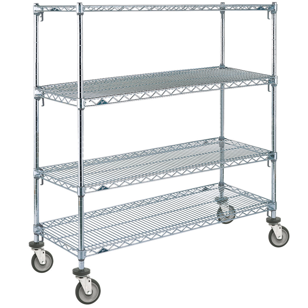 "Metro A336EC Super Adjustable Chrome 4 Tier Mobile Shelving Unit with Polyurethane Casters - 18"" x 36"" x 69"""