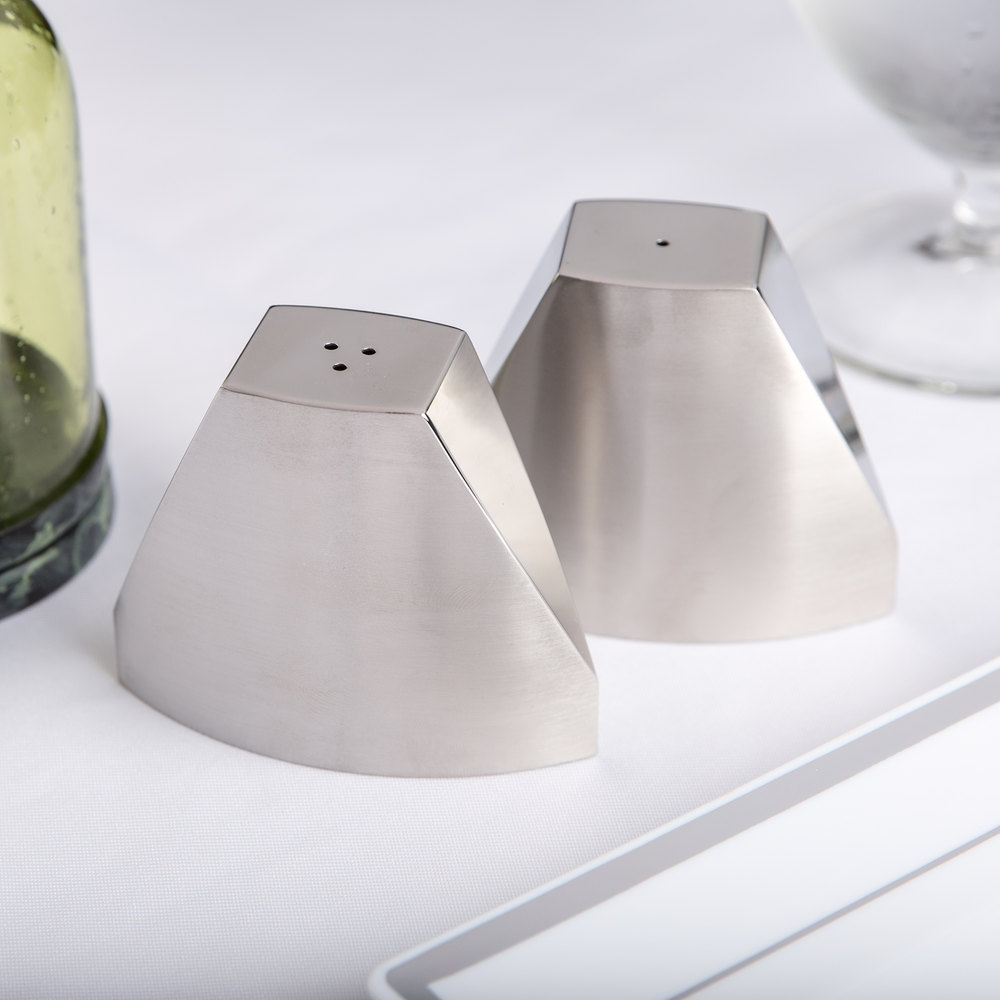 American Metalcraft SPDX22 3.2 oz. Stainless Steel Wedge Salt and Pepper Shaker Set