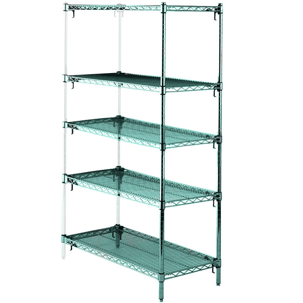 "Metro 5AA567K3 Stationary Super Erecta Adjustable 2 Series Metroseal 3 Wire Shelving Add On Unit - 24"" x 60"" x 74"""