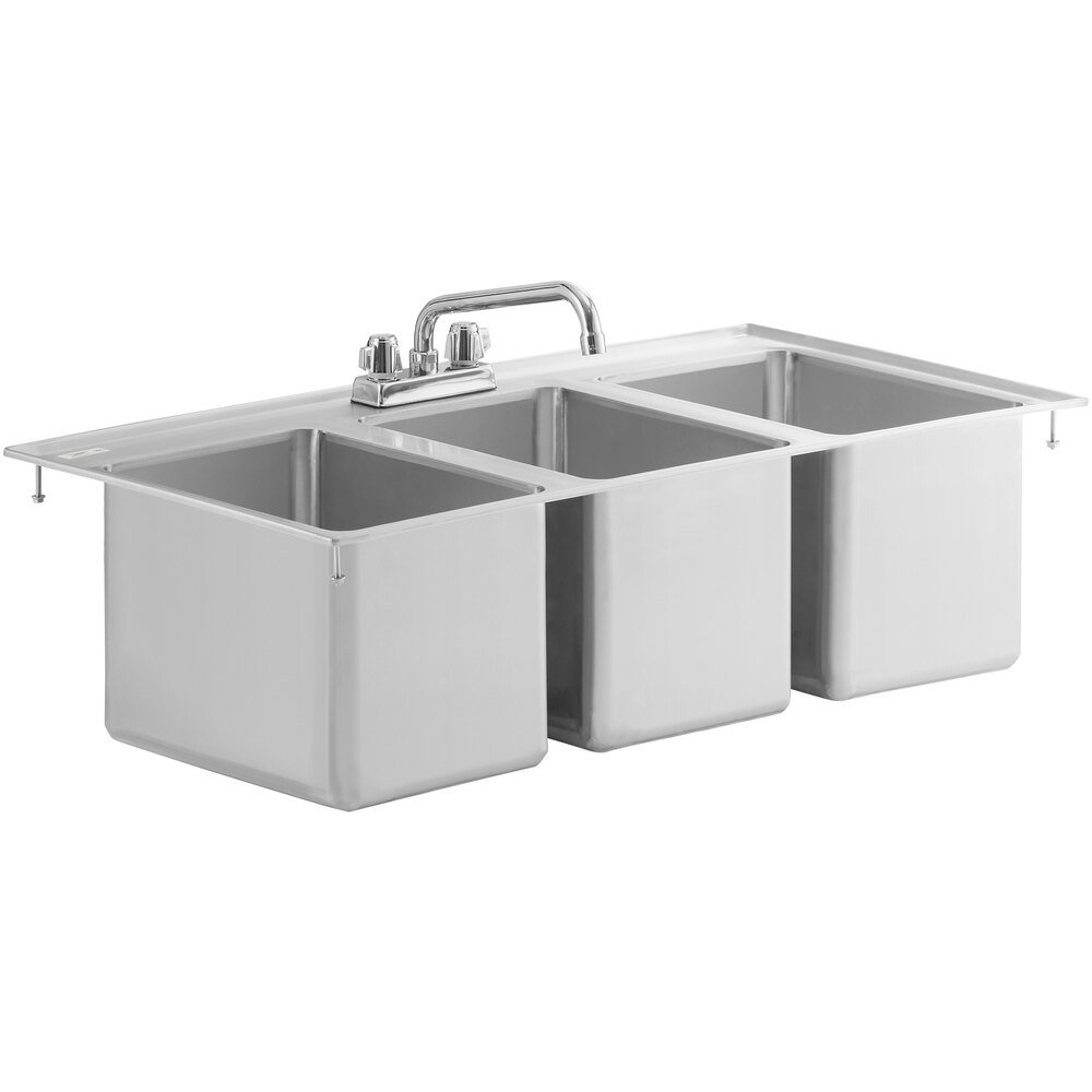 Regency 10 inch x 14 inch x 10 inch 16-Gauge Stainless Steel Three Compartment Drop-In Sink with 10 inch Faucet