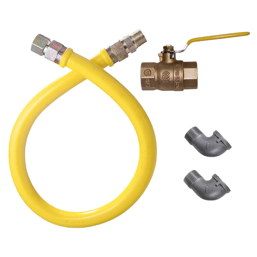 "Dormont 1650NPKIT36 36"" Stainless Steel Stationary Foodservice Gas Connector Kit - 1/2"" Diameter"
