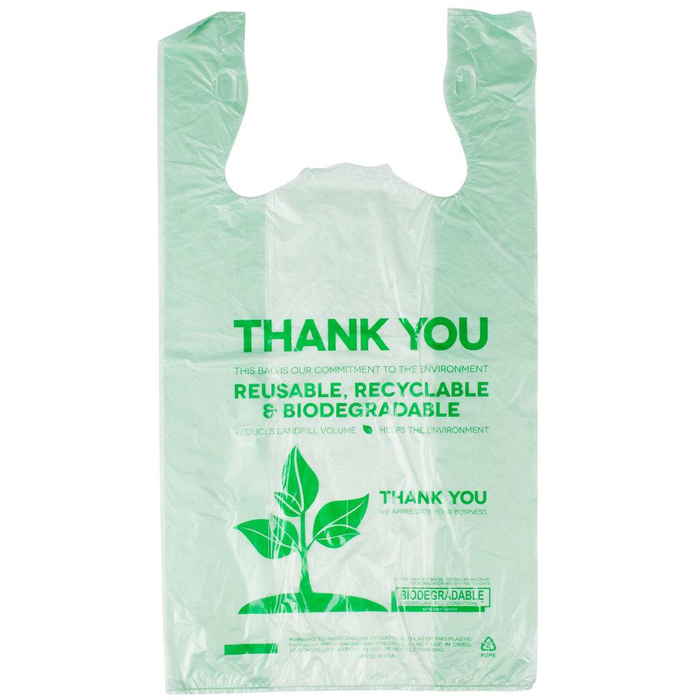 Green herc 1 6 size biodegradable plastic t shirt bag for Plastic t shirt bag