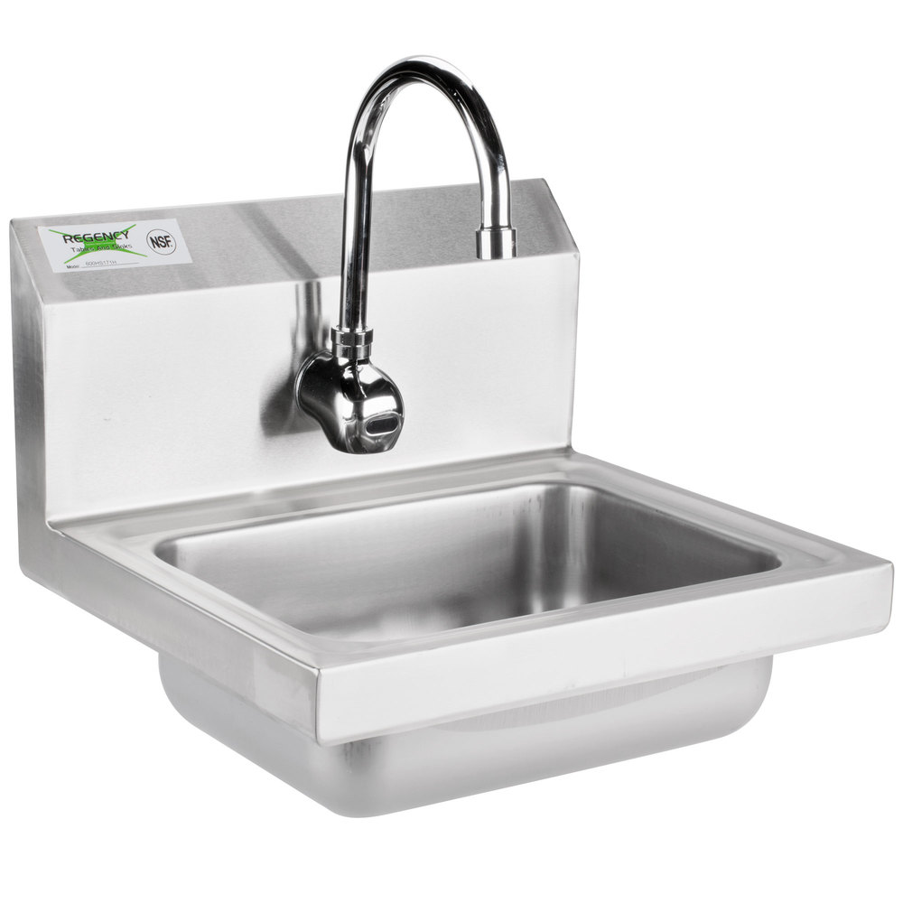 Regency 17 inch x 15 inch Wall Mounted Hand Sink with T&S Hands-Free Automatic Faucet