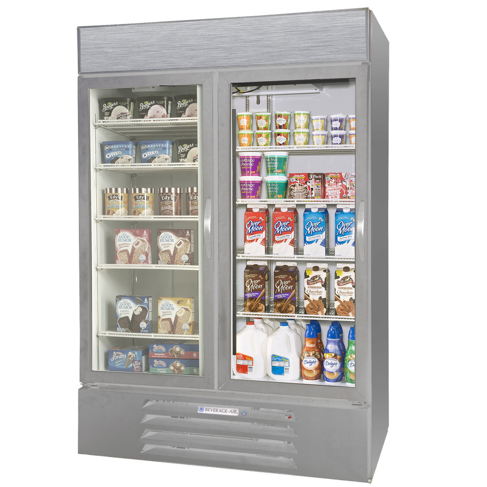 Configuration C Beverage Air Market Max MMRF49-1-SW-LED Stainless Steel Two Section Glass Door Dual Temperature Merchandiser - 49 Cu. Ft.