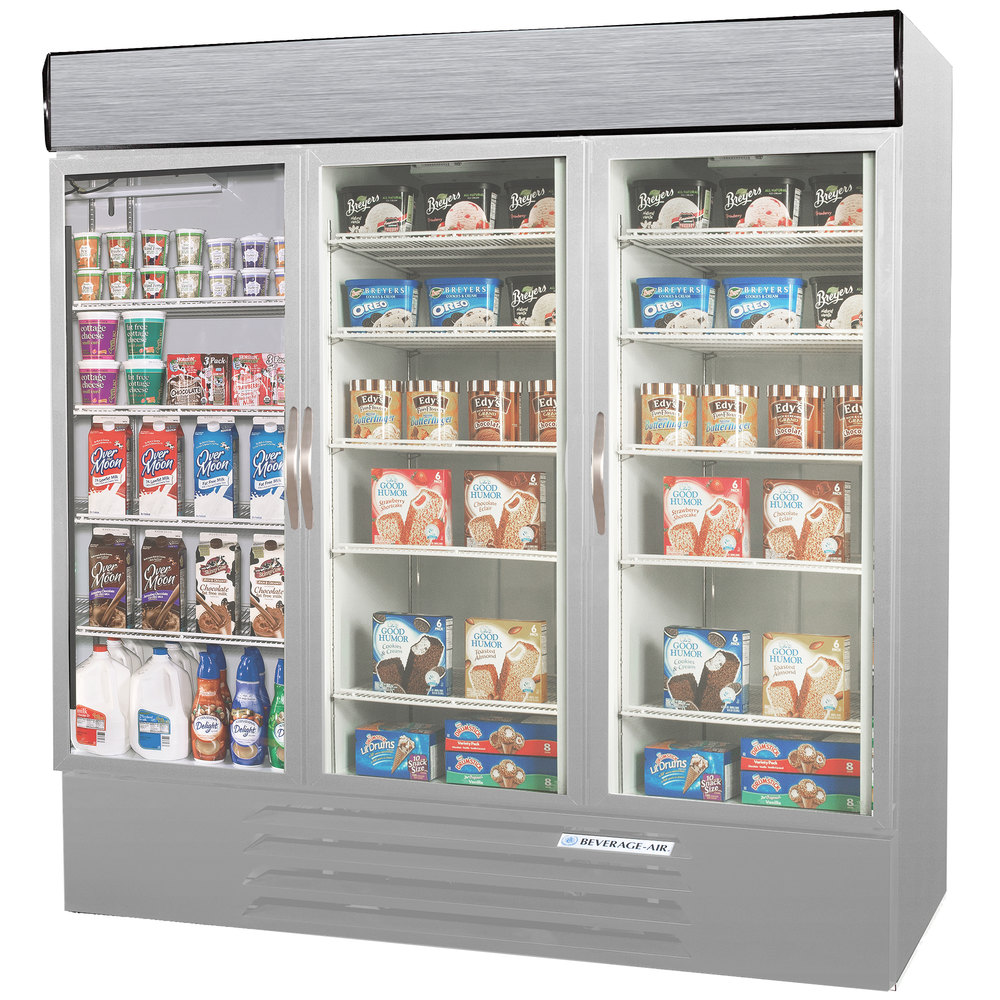 Configuration B Beverage Air MMRF72-1-SW-LED Market Max Stainless Steel Three Section Glass Door Dual Temperature Merchandiser - 72 Cu. Ft.